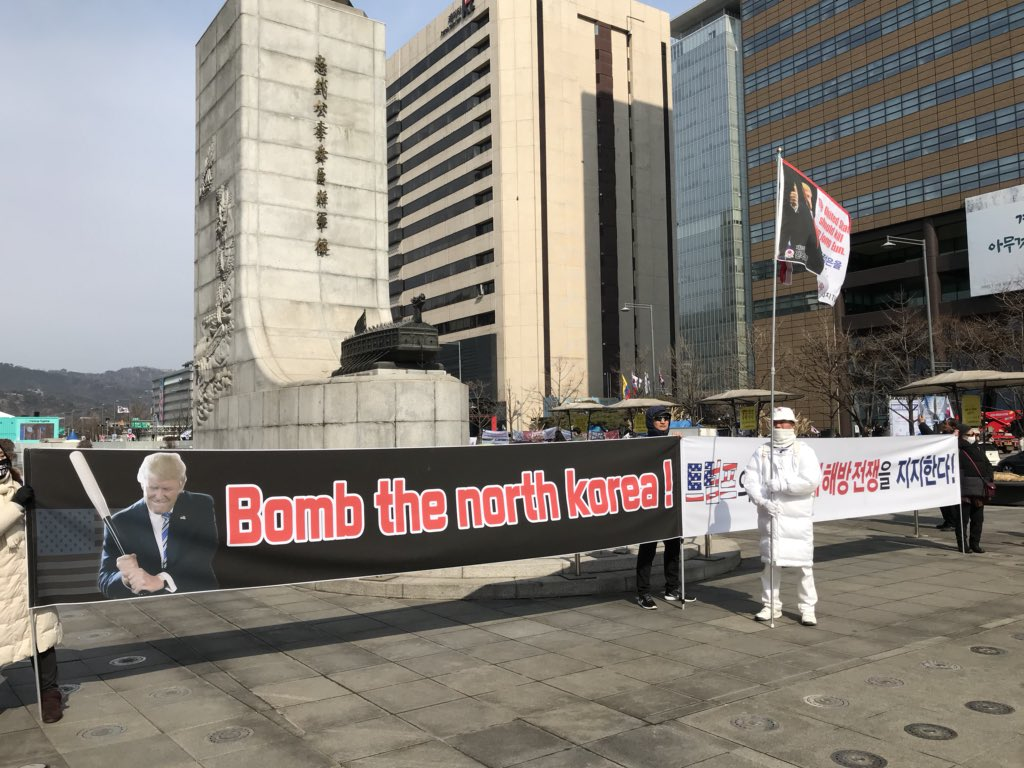 Across the street, these people have strong feelings about North Korea/Kim Jong Un/what Donald Trump should do about them