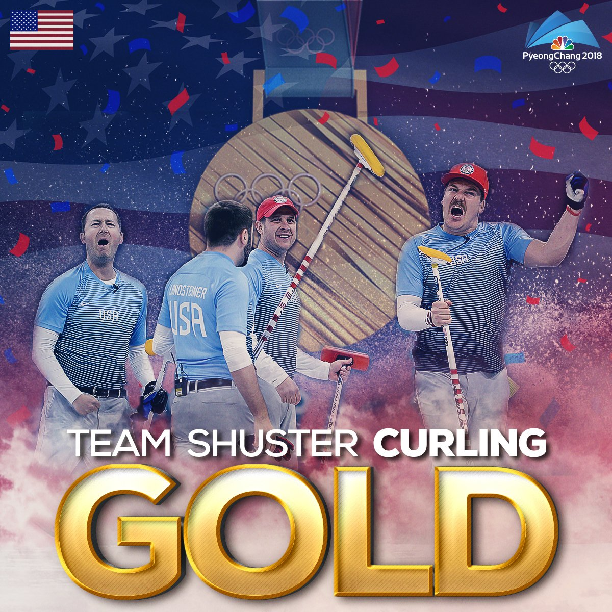 .@TEAMSHUSTER JUST MADE HISTORY!! 🥇  @TeamUSA gets its first #gold medal in curling EVER.