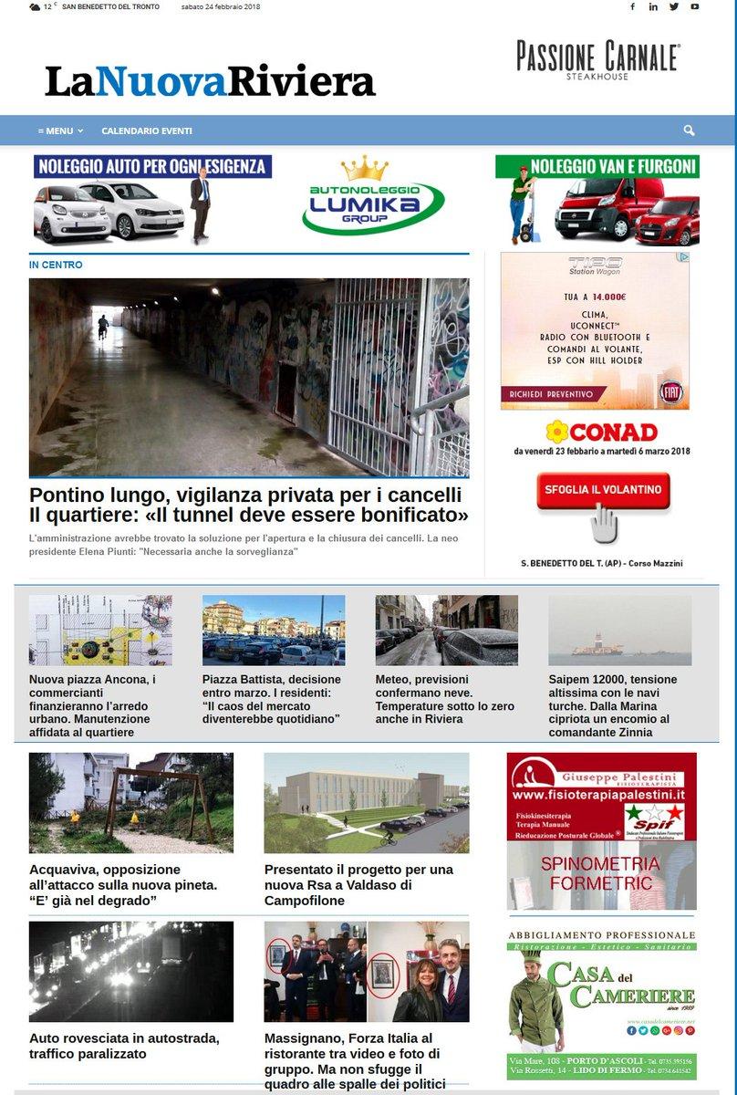 La #primapagina di La Nuova Riviera di s...