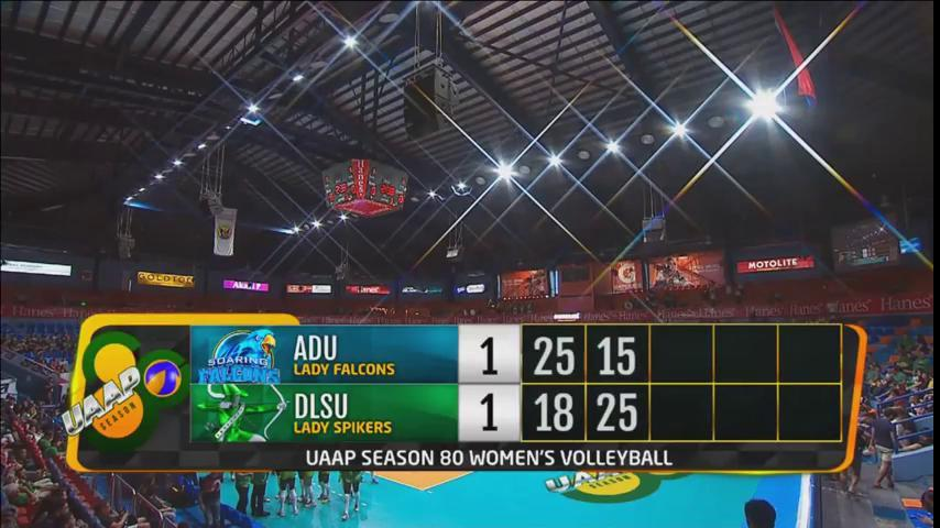 DLSU Lady Spikers bounce back with a convincing set 2 win over Adamson! Tied match, 1-1! #UAAPSeason80Volleyball   LIVE NOW!   📺 ABS-CBN S+A 23, ABS-CBN S+A HD 166, Liga Sky ch 86, Liga Sky HD 183  📱/💻 https://t.co/HoDoEWfQW3