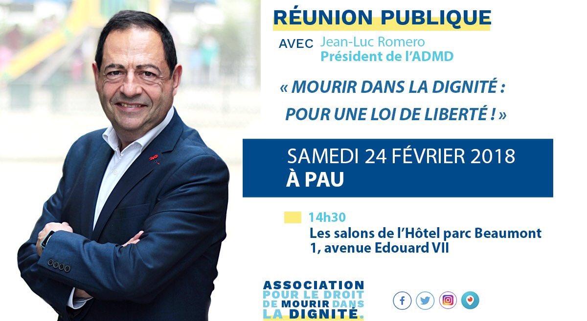 Jour J à #Pau : #ParlonsFinDeVie ! Retrouvez-moi à 14h30 pour une réunion publique #ADMD : venez nombreuses et nombreux et osez braver le froid ! #MaMortMAppartient ! #loisbioethiques #EGB2018 #MaVieDeMilitant  - FestivalFocus