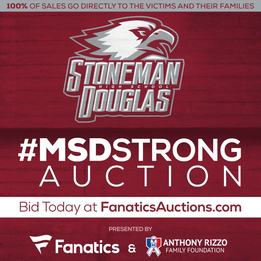 RT to spread the word! @Fanatics & the @RizzoFoundation, along with our partners, have come together to help the families of the Marjory Stoneman Douglas tragedy. 100% of sales will be donated to the victims -  fanaticsauctions.com/MSDStrong #MSDSTRONG