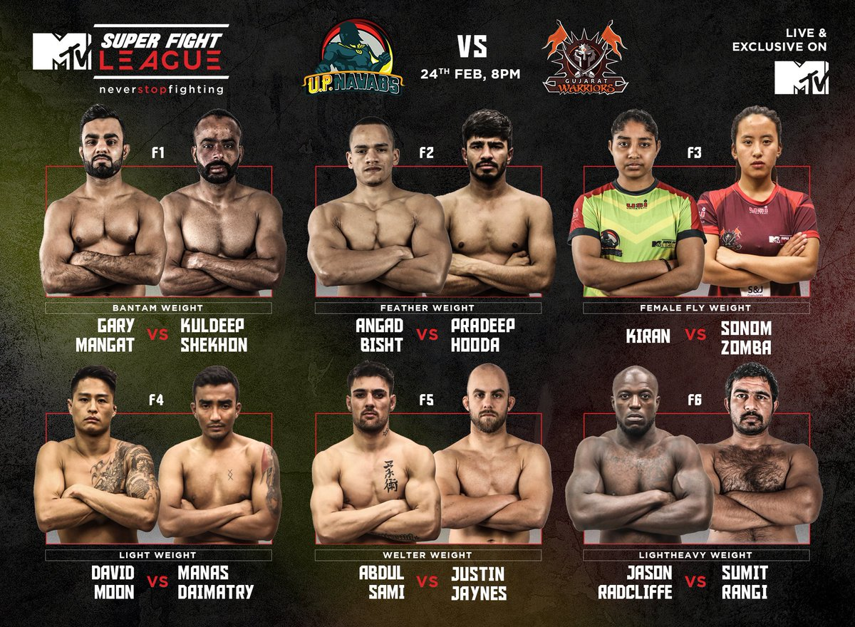 Tonight, UP Nawabs will battle it out with Gujarat Warriors and it will be one hell of a fight! Here's the fighter line-up.   Don't forget to tune in to #MTVSuperFightLeague at 8 PM tonight, live and exclusive on MTV.   #NeverStopFighting @TheFightLeague