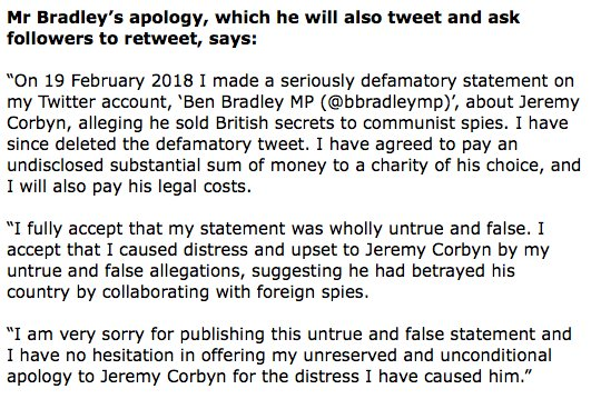 Grovelling apology to Corbyn from Tory vice chair and Mansfield MP Ben Bradley over spy smear plus 'substantial' donation to charities. Oh, and he's picking up Jezza's legal bill