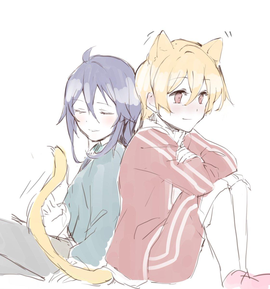 #ルイミト きみのそばは おちつくなぁ ろー先生のルイミトに触発されて拾い猫ルイと飼い主ミトらくがき