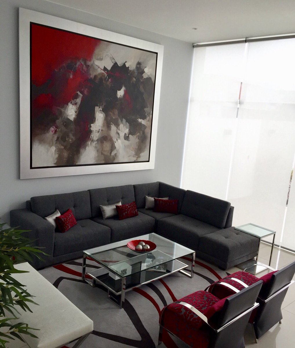 Epg studio on twitter dise o interior decoraci n de - Salon gris y rojo ...