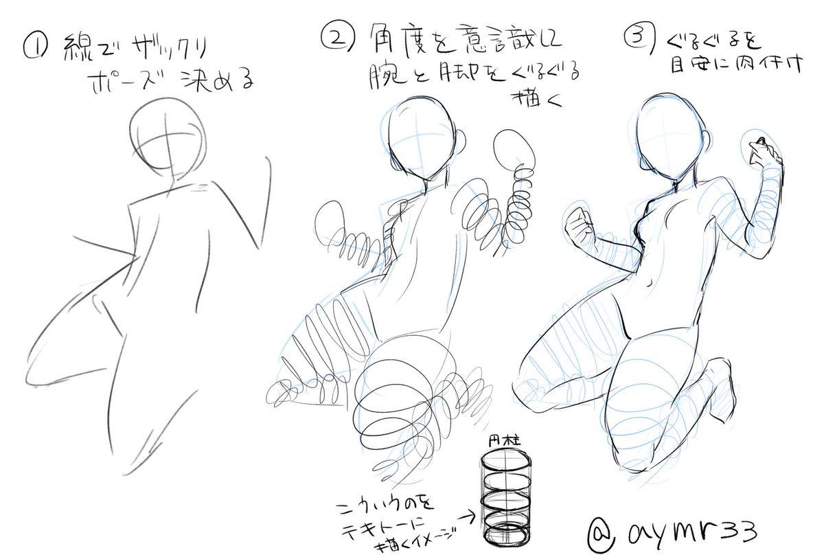 息抜きに講座もどき。たまにやる腕とか脚とかの描き方です。