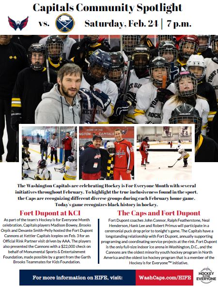 9c3391d226c Five Fort Dupont coaches will participate in a ceremonial puck drop. Learn  more in today s Community Spotlight and at  ...