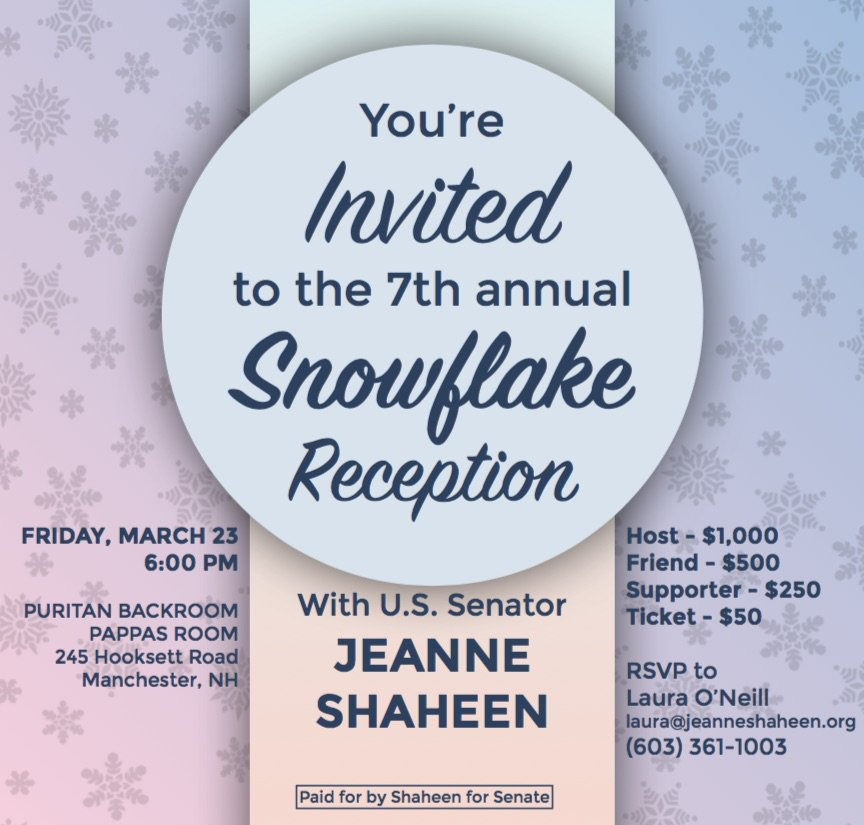 Join @JeanneShaheen for the 7th annual Snowflake Reception March 23! RSVP HERE: secure.actblue.com/donate/snowfla…