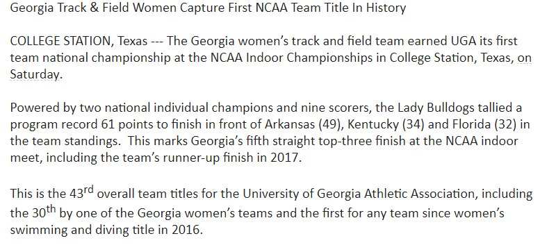 Congrats to the #UGA Women's track team, or simply put, the National Champions