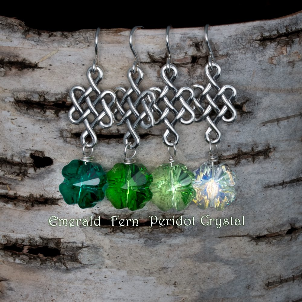 010601b60 Saint Patty's Day Sterling Silver Celtic Knot Earrings with Swarovski  Crystal Clovers. Available in Emerald, Fern Green, Peridot, and Crystal AB.
