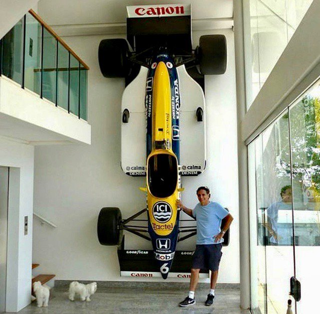 """Adelaide GP on Twitter: """"Nelson Piquet with his 1987 championship-winning  Williams FW11B hanging on the wall of his home in Brasilia. Feature on  where the winners of the Adelaide Grand Prix are"""