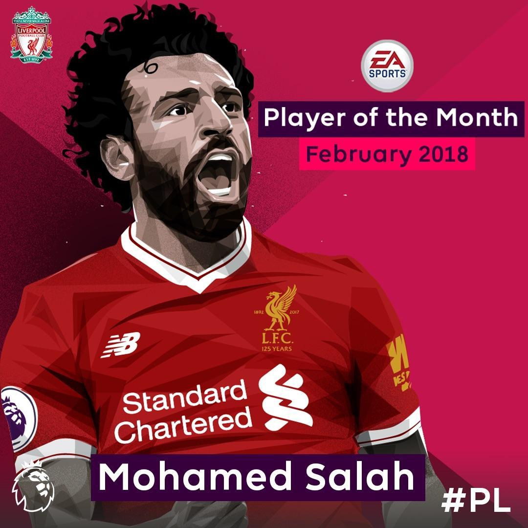 ⚽️⚽️⚽️⚽️ 🅰️🅰️  @22mosalah is the @EASPORTSFIFA Player of the Month for February!   #PLAwards @LFC