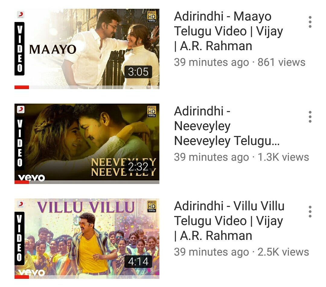 #Adirindhi Video Songs Out Now.  #NeeveyleyNeeveyley -  https:// youtu.be/hz0LA69yXBc  &nbsp;     #VilluVillu -  https:// youtu.be/-f8bIy1FSZQ  &nbsp;     #Maayo -  https:// youtu.be/jJz_OL5ZhcA  &nbsp;     @actorvijay @Atlee_dir @nseplofficial @ThenandalFilms @Samanthaprabhu2 @MsKajalAggarwal @Hemarukmani1 @SonyMusicSouth<br>http://pic.twitter.com/iWERTto56L