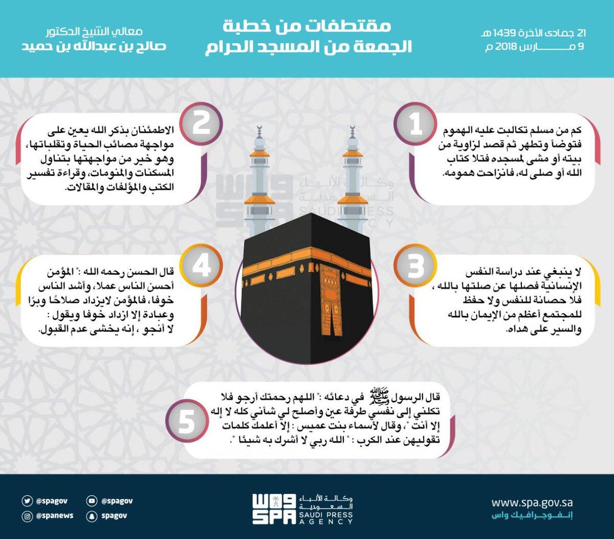 مقتطفات من خطبة #الجمعة بـ #المسجد_الحرا...