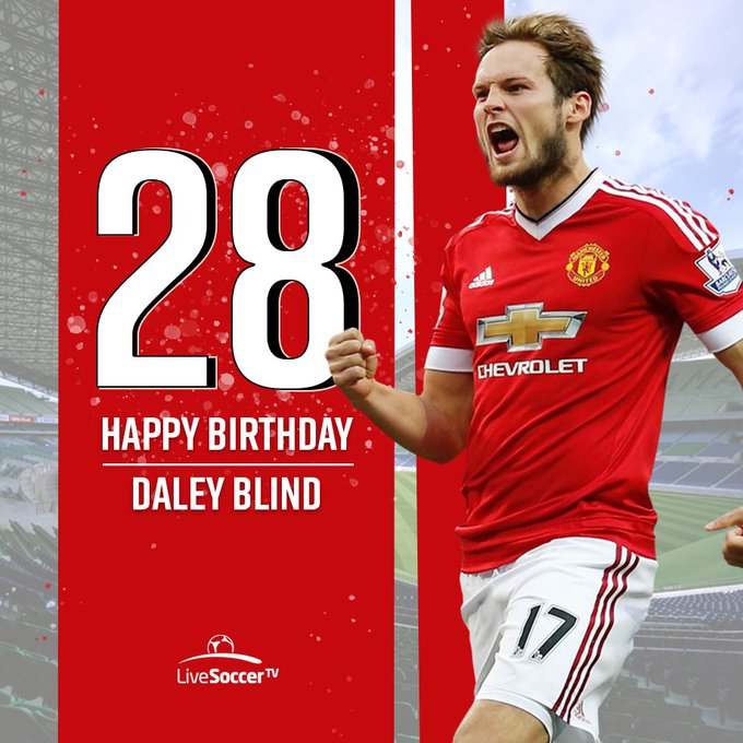 Happy birthday: Netherlands and midfielder Daley Blind turns 28