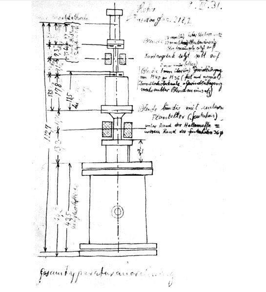 Sketch by Ernst Ruska (dated 9 March 1931) of the cathode ray tube for testing one-stage and two-stage electron-optical imaging by means of two magnetic electron lenses (electron microscope). #NobelPrize