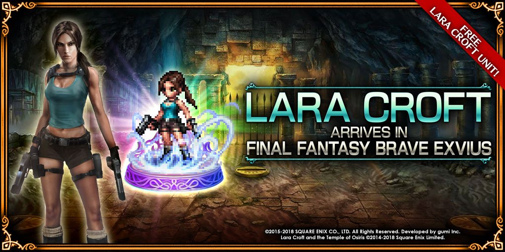 #FFBEWW welcomes the arrival of the intrepid Lara Croft from the critically acclaimed @tombraider  series! Log in daily from 3/9 0:00 until 3/21 23:59 PST (3/22 0:59 PDT) to obtain her unit and other amazing rewards! Click here for more info: goo.gl/tUsR9C  #TombRaider