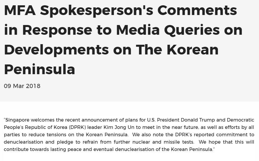 """""""SG welcomes the recent announcement of plans for President Donald Trump and DPRK leader Kim Jong Un to meet in the near future, as well as efforts by all parties to reduce tensions on the Korean Peninsula."""" www1.mfa.gov.sg/Newsroom/Press…"""