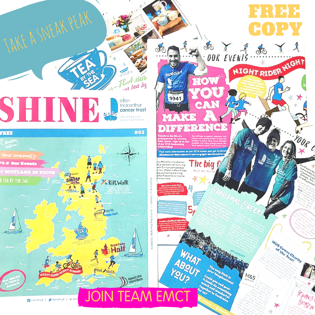 Take a sneak peak of our latest edition of - SHINE 💫 Don't miss out on your FREE copy, get inspired and find out about all of the exciting events we have planned for 2018! Drop us a line to request yours - getinvolved@emcancertrust.org #4Charity #FridayFundraising