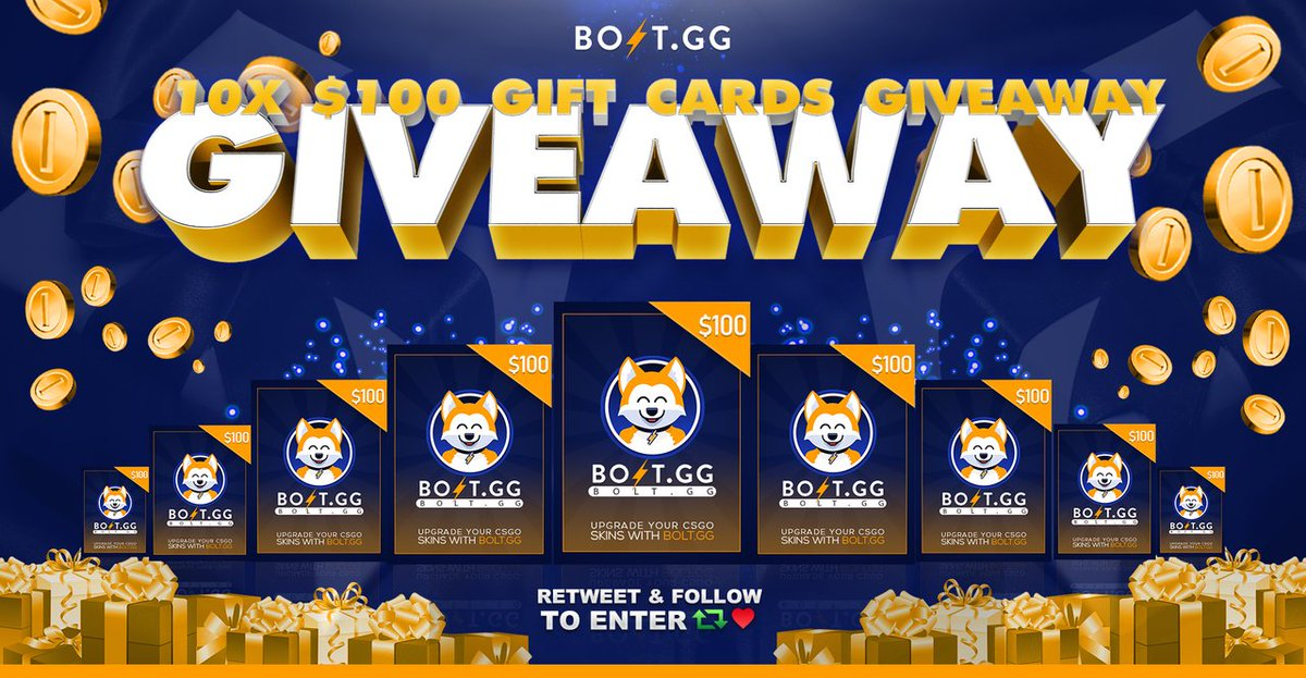 In Celebration of our new Gift Card feature, we are giving away 10 $100 gift cards. These can be used to claim any skins from our store.  ⚡️Follow & RT ⚡️Enter here: http://bit.ly/BoltGA   10 Winners drawn in 10 days, good luck!