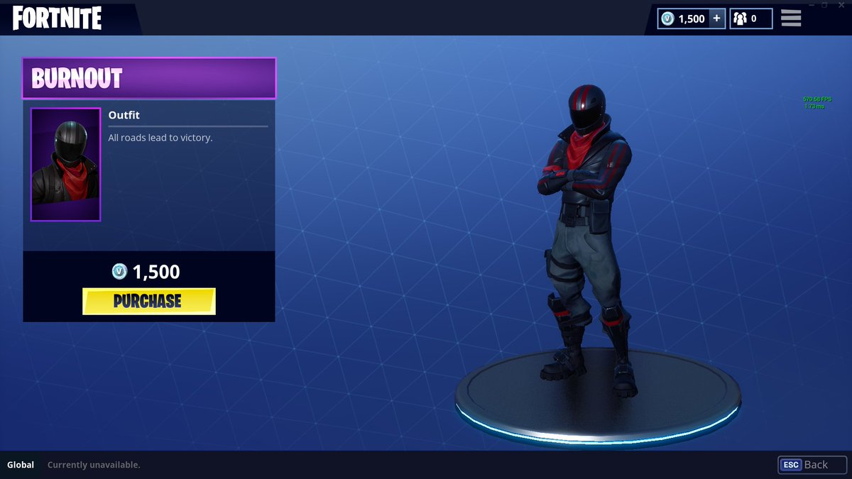 has the black red color scheme and a small moustache on display thingy on his hand if thats correct imma buy this skin pic twitter com dhtduvawjr - burnout fortnite skin