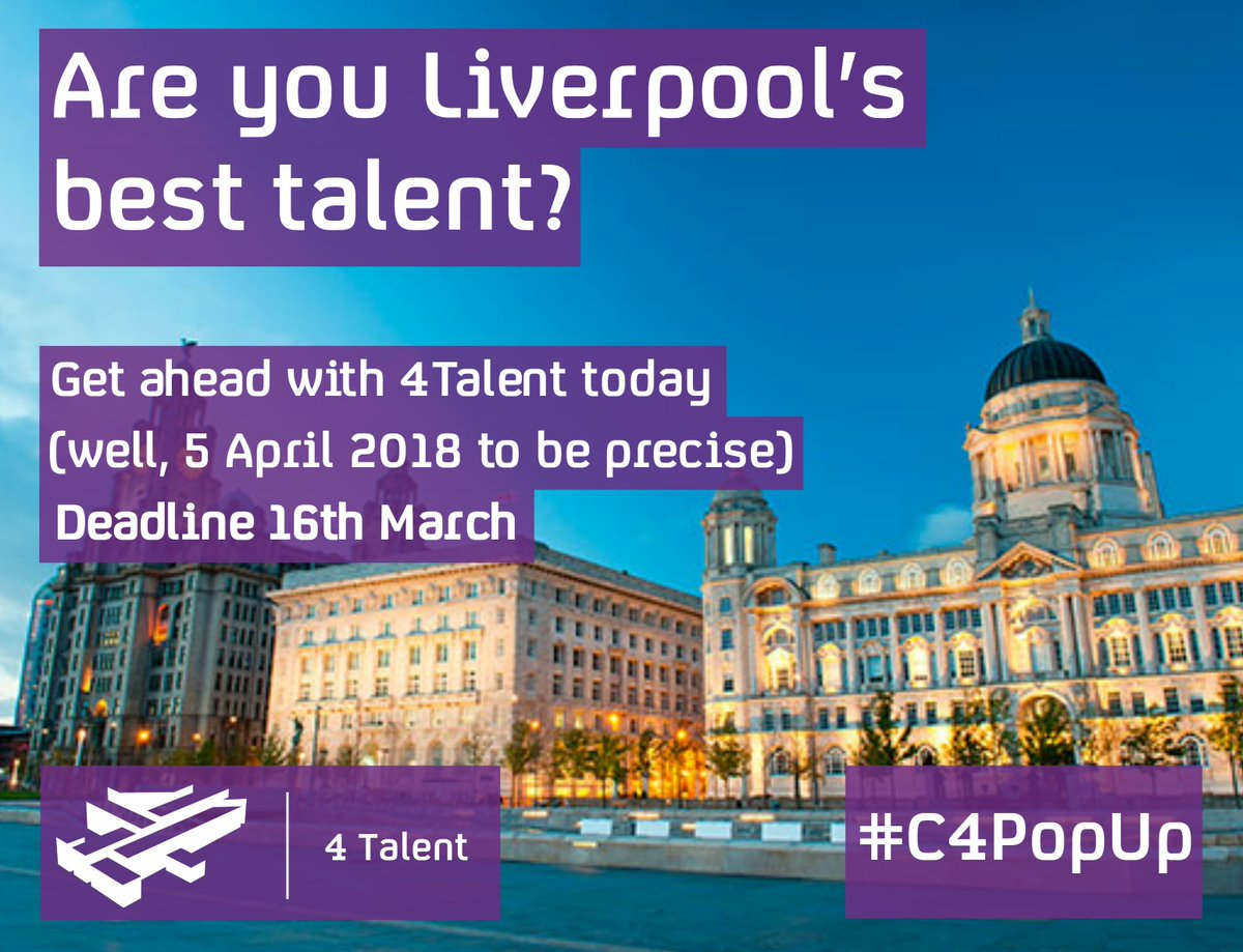Passion for Media? Apply now for a day with Channel 4 in Liverpool on 5th April! bit.ly/2GRS7q2 #C4PopUp #4myfuture @4Talent