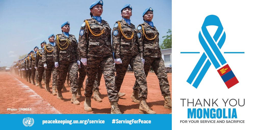 Some 900+ UN peacekeepers from Mongolia go where no one else will to keep the peace, restore stability, protect civilians & much more. We thank them for their service & sacrifice. https://t.co/lZYeCp9I0z  #ServingForPeace https://t.co/ZznyJjAmfw