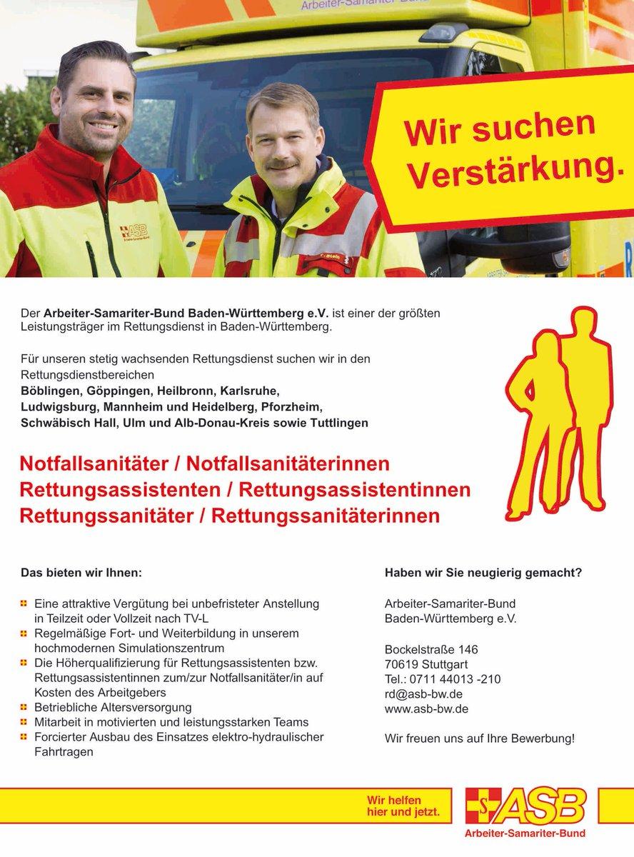 #ASB #Baden-Württemberg #Rettungsdienst #Jobs #Stellenanzeige # Notfallsanitäter/in #Rettungsassistent/in #Rettungssanitäter/in #Böblingen  #Göppingen ...