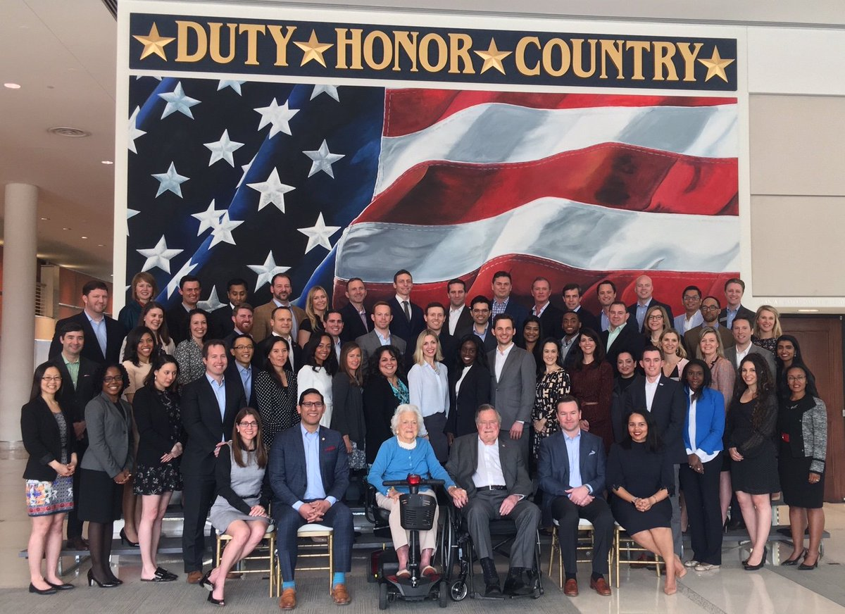 Barbara and I are even more optimistic about our countrys future after meeting the remarkable men and women in this years @PLSprogram. Very proud of this innovative partnership between @TheBushCenter @ClintonCenter @Bush41 @LBJLibrary.