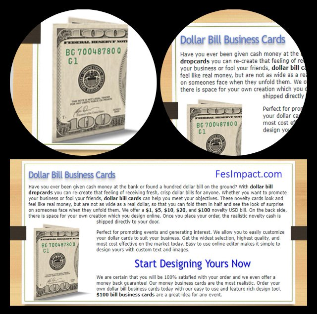 Fes impact on twitter give prospects 100 well sort of wow wow them with these new dollar bill business cards promote your party event sale or business httpfesimpact great prices colourmoves