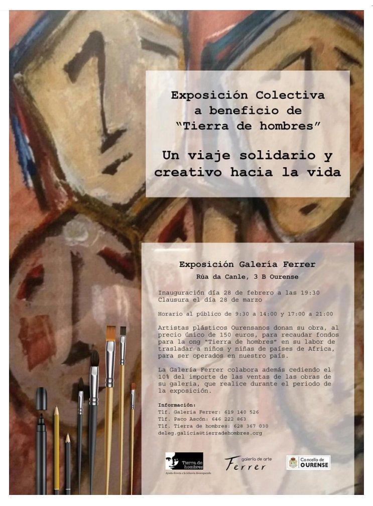 Regresa a #Ourense la exposición colectiva un viaje solidario y creativo hacia la vida a beneficio de la ONG Tierra de Hombres. Hasta el 28 de marzo, estará disponible en la Galería Ferrer, que colaborará donando el 10% de sus ventas mientras dure la exposición