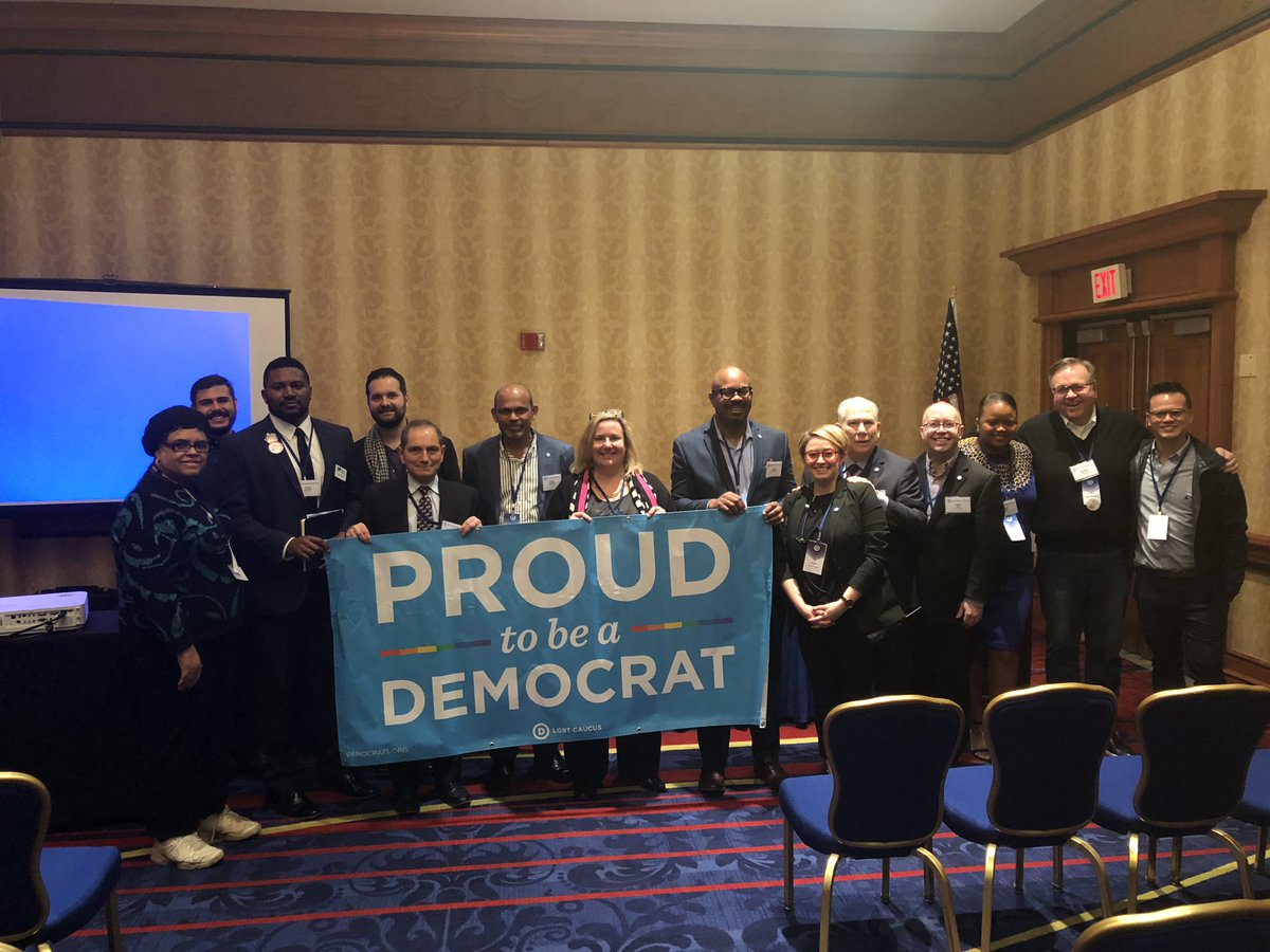 Hello from our LGBT Caucus this morning at our #DNCWinter18 Meeting. Democrats are proud to have our LGBTQ family members with us today and to stand by them every day.