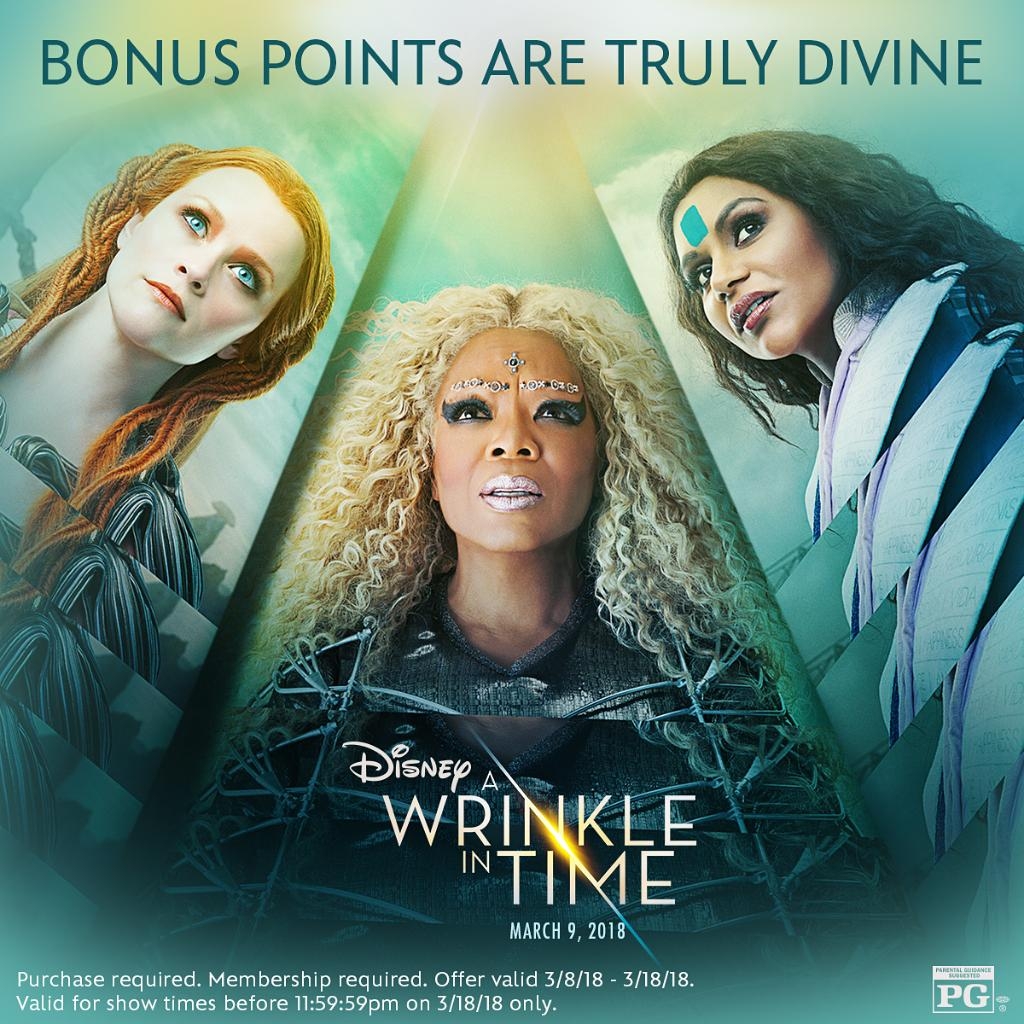 Disneys A #WrinkleInTime is now playing, and you can earn double points at Disney Movie Rewards when you buy tickets through 3/18/18! Details: di.sn/6011DTTHV