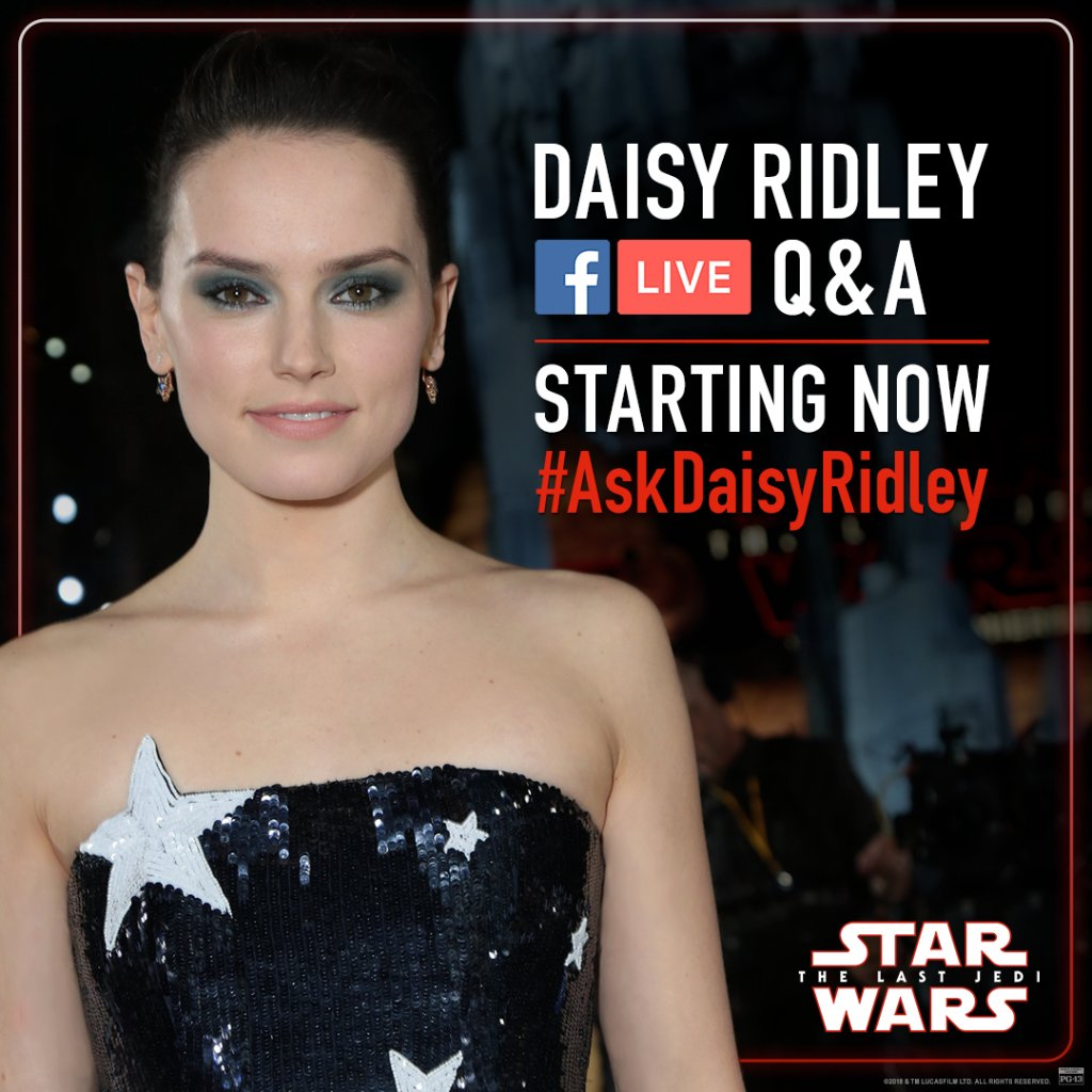 Our LIVE chat with Daisy Ridley starts now! https://t.co/gqFU0miU81 https://t.co/Mbi5i4k1A3