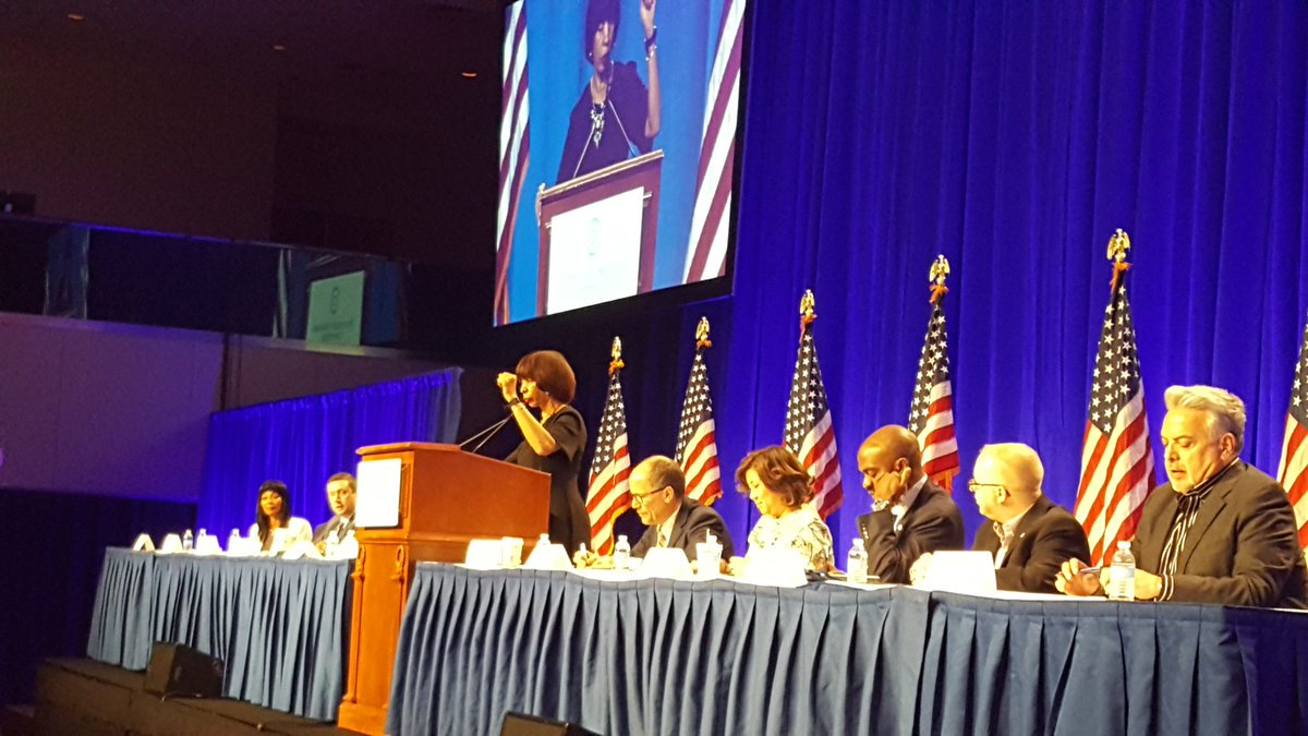 """""""Representation matters...Everyone must be counted."""" - @MayorPugh50 gives an impassioned speech to our #DNCWinter18 crowd about getting Democrats across the country to the polls this fall."""