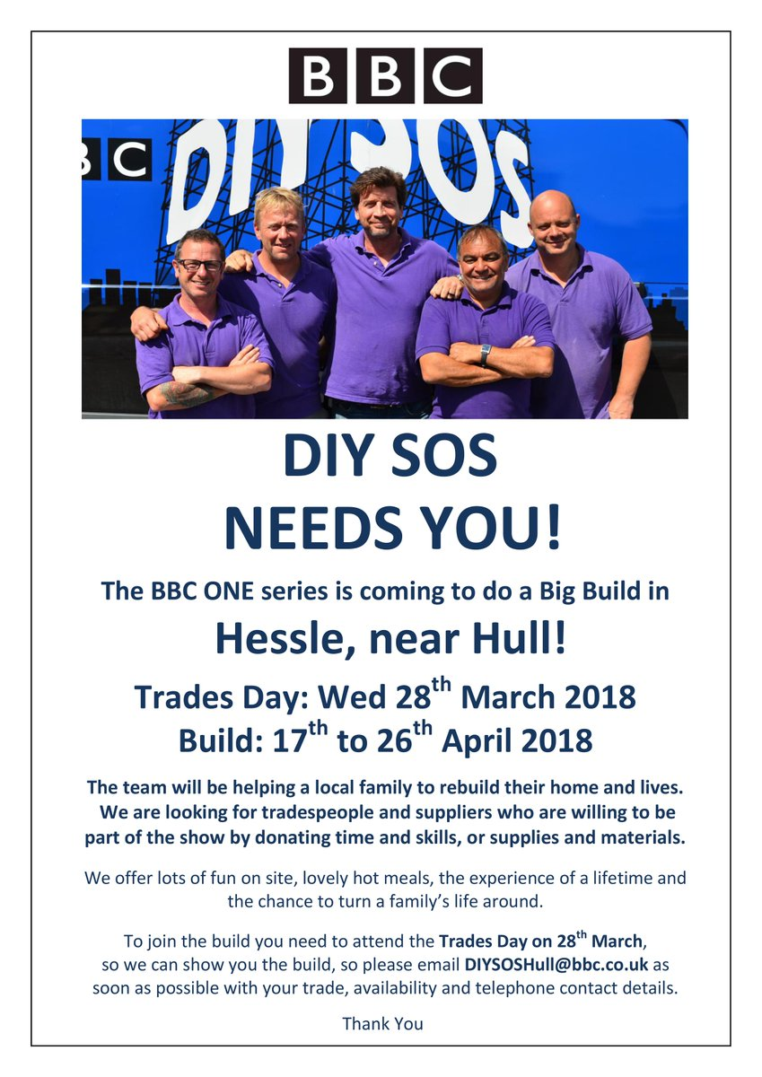 Diy Sos Is Coming To Hull East Yorkshire In April We Re Looking For Tradespeople And Suppliers Help A Local Family So Please Email