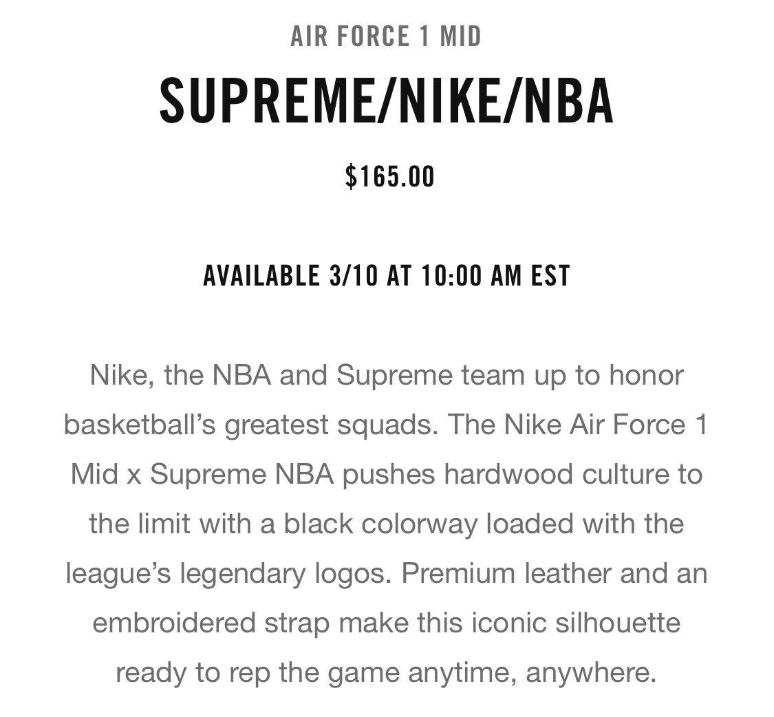 039f09524895 Supreme x Nike x NBA Dropping Tomorrow 3 10 AF1- Via SNKRS App At 10 Am Est  Apparel Set To Drop On NikeLabpic.twitter.com Dcm1HHdnUl