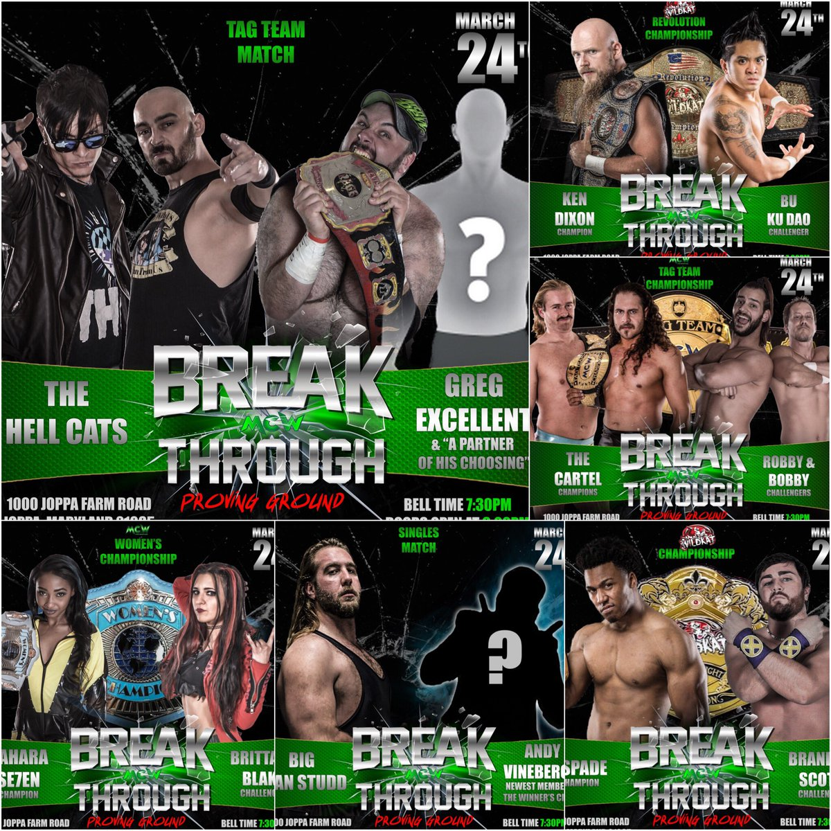The card so far for #MCWBreakthrough: Proving Ground on Saturday March 24th from the #MCW Arena in Joppa, MD!  Which match are you most excited to see??   http:// MCWProWrestling.com  &nbsp;  <br>http://pic.twitter.com/RjR8jDWwiu
