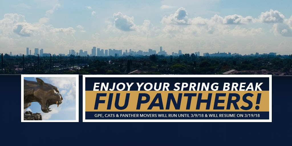 Fiu Parking On Twitter Gpe Cats Panther Movers Will Run Until 3