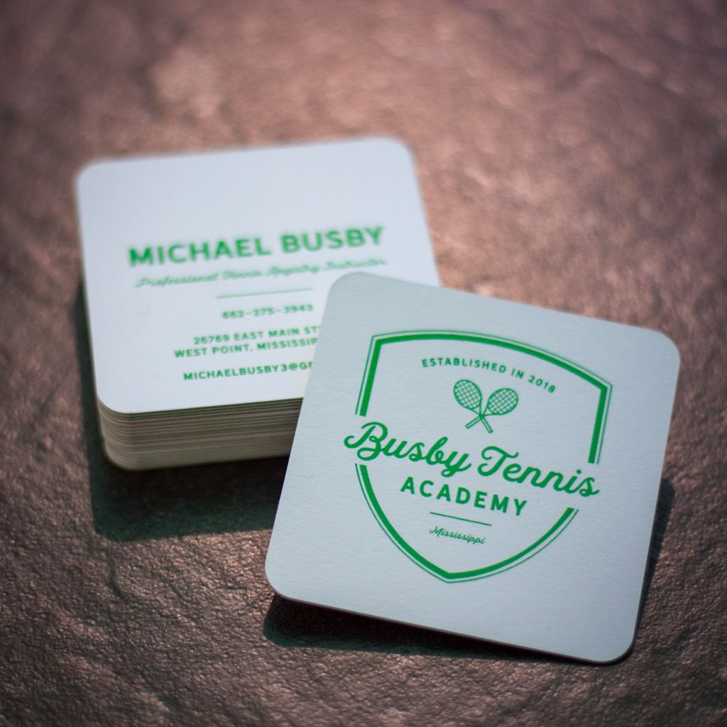 Sparrow ink design sparrowink twitter new logo and square business cards for busby tennis academy moo luxe square business cards were perfect for the country club vibe of the brand reheart Image collections