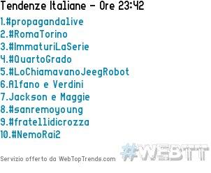 1.#propagandalive 2.#RomaTorino 3.#Immat...
