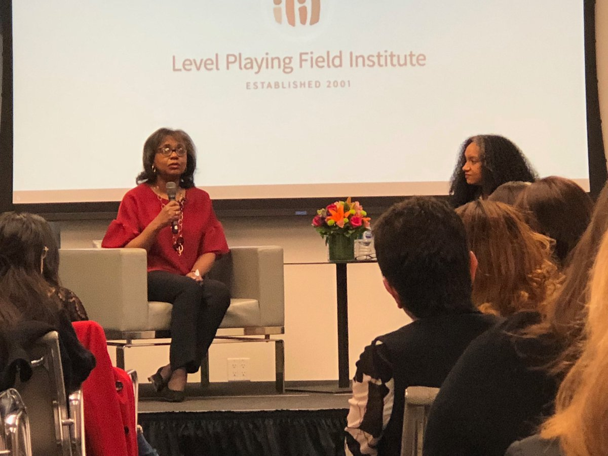 Listening to Dr. Anita Hill talk about the progress since she testified on sex harassment 26 years ago. 'The media could have done more storytelling...the story was focused on the effect it had on the men accused.' @LPFI