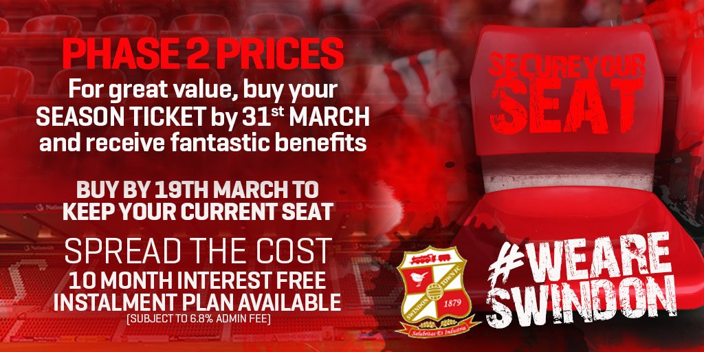 Secure your seat for 2⃣0⃣1⃣8⃣/1⃣9⃣ by the end of this month and receive some fantastic benefits! 👉 eticketing.co.uk/swindontown/ #WEARESWINDON