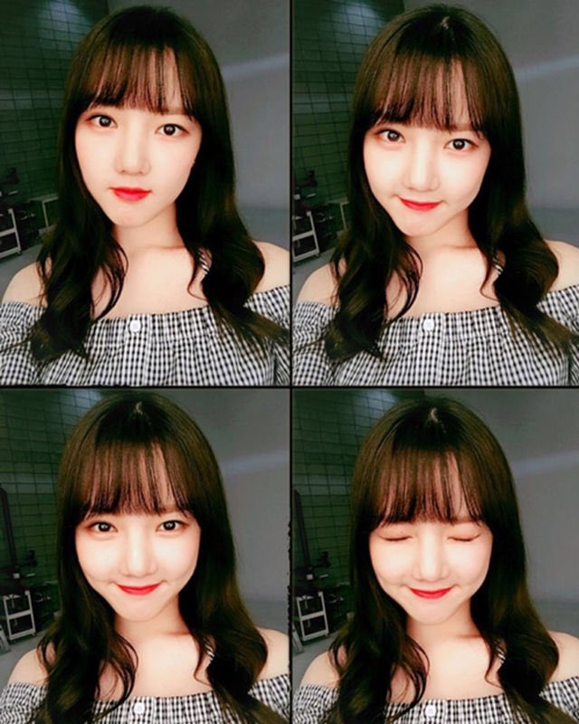 [NewsAde] Off-the-Shoulder Blouse That You Do Not Want To Miss (for Spring) GFriend Yerin - off the shoulder with tiny check patterns, it is a good match with wavy perm hair Source: 1boon.daum.net/newsade/offsho…