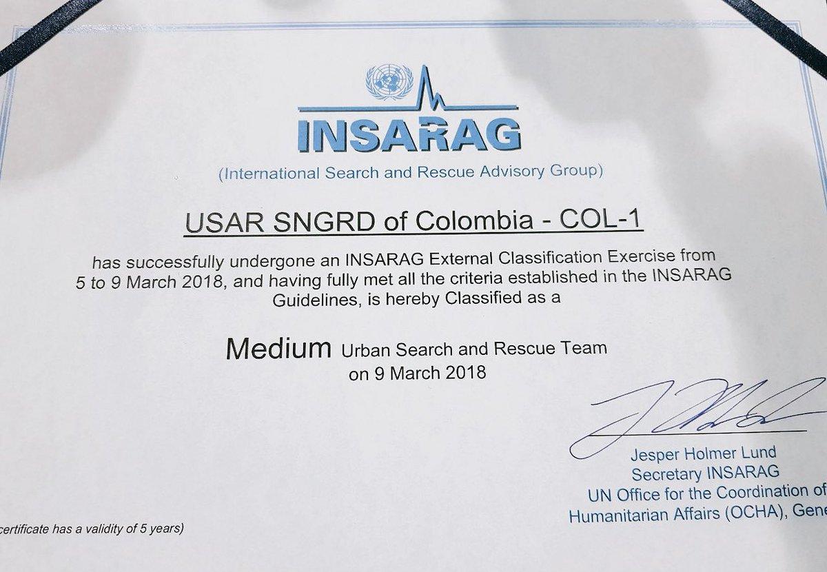 1er Equipo de Búsqueda y Rescate Urbano Colombiano certificado internacionalmente.