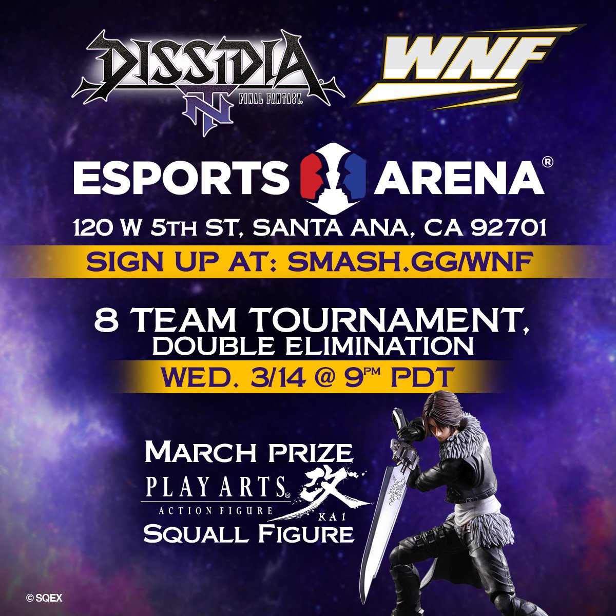 DISSIDIA Master Series announced for #WNF @EsportsArena in Santa Ana, CA. Team up and compete in #DissidiaFFNT for a chance to win cool prizes! For more info, check out: bit.ly/2Ih4xcE 🏆!