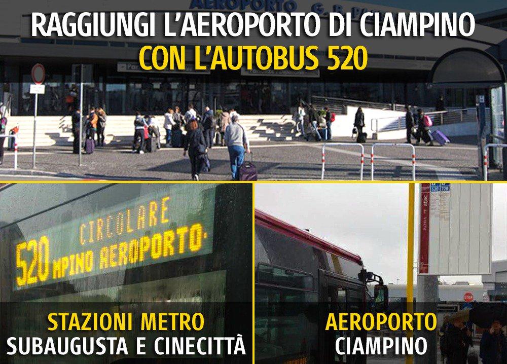 Da lunedì 5 marzo @Roma ha una seconda linea di bus che collega l'Aeroporto di Ciampino con le stazioni metro A di Cinecittà e Subaugusta. Un tassello che va ad aggiungersi alla nostra idea di trasporto pubblico. Un servizio economico e veloce: goo.gl/Yi3X2T