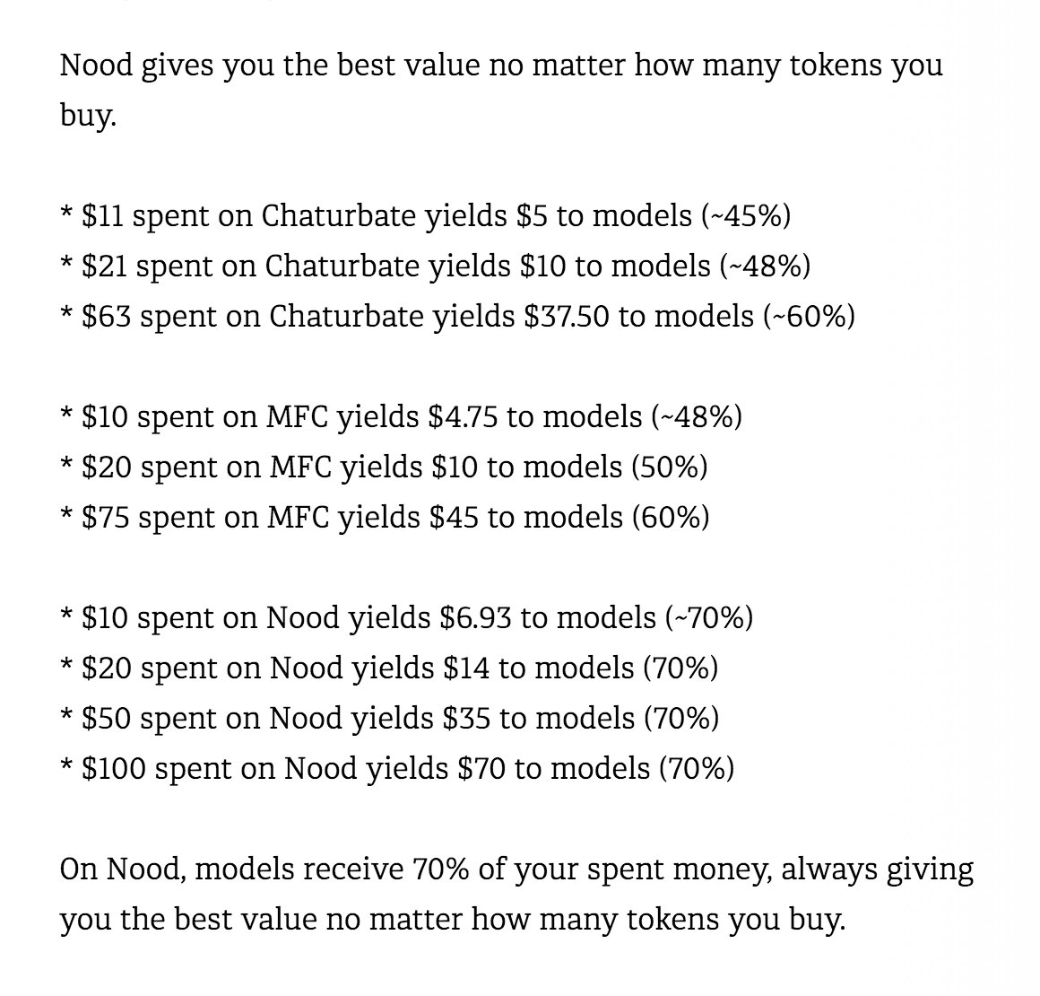 I saw a discussion about the value of tokens on @noodApp compared to other cam sites, and I realize many people get confused with the number of tokens versus their real value. Heres a breakdown!