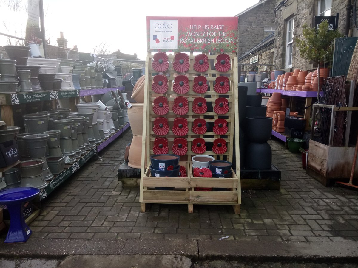 Fab Selection Of Pots At The Garden Centre In Leyburn Lots New Ranges Including Royal British Legion Poppy Plaques And